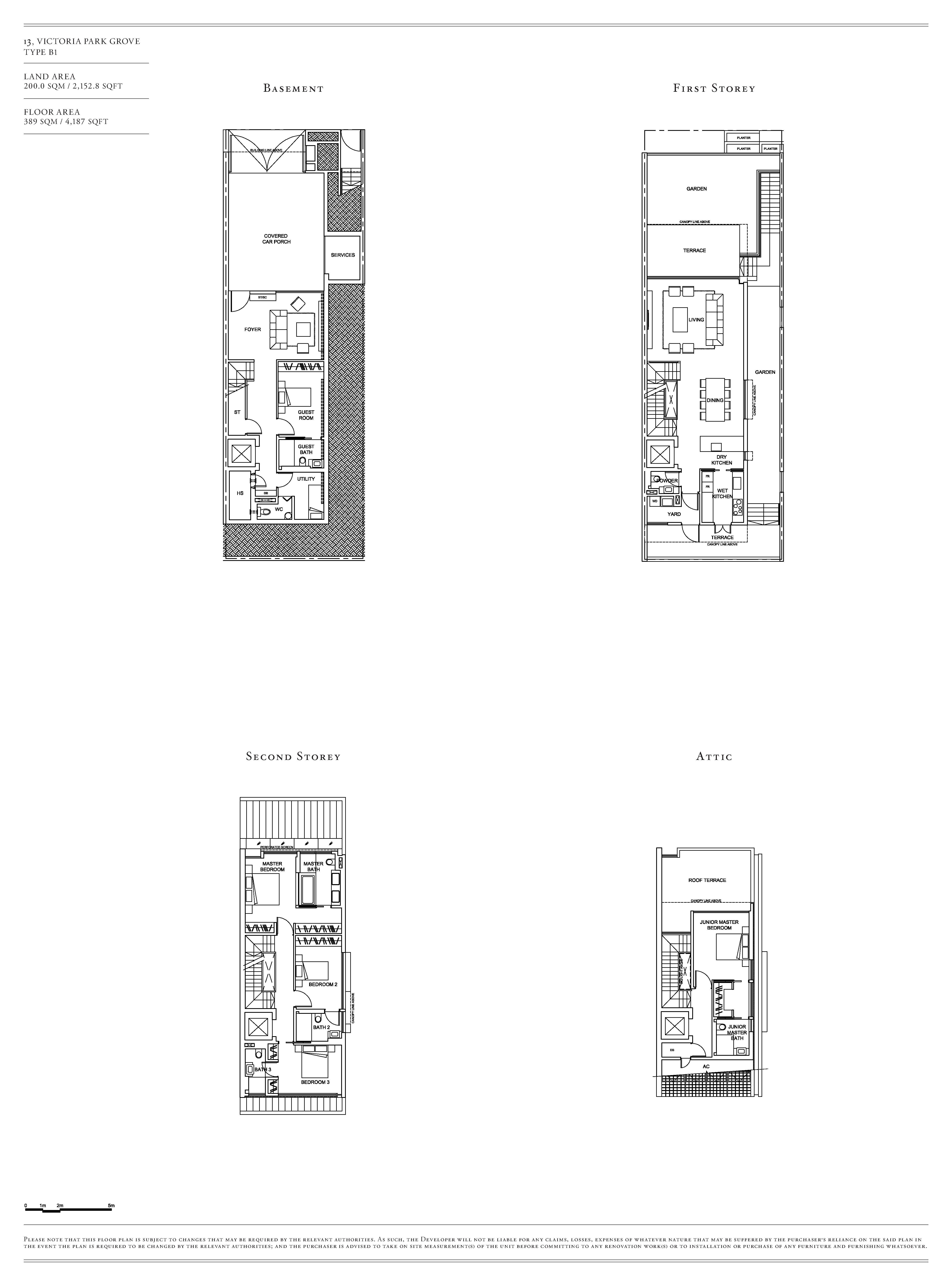 Victoria Park Villas House 13 Type B1 Floor Plans