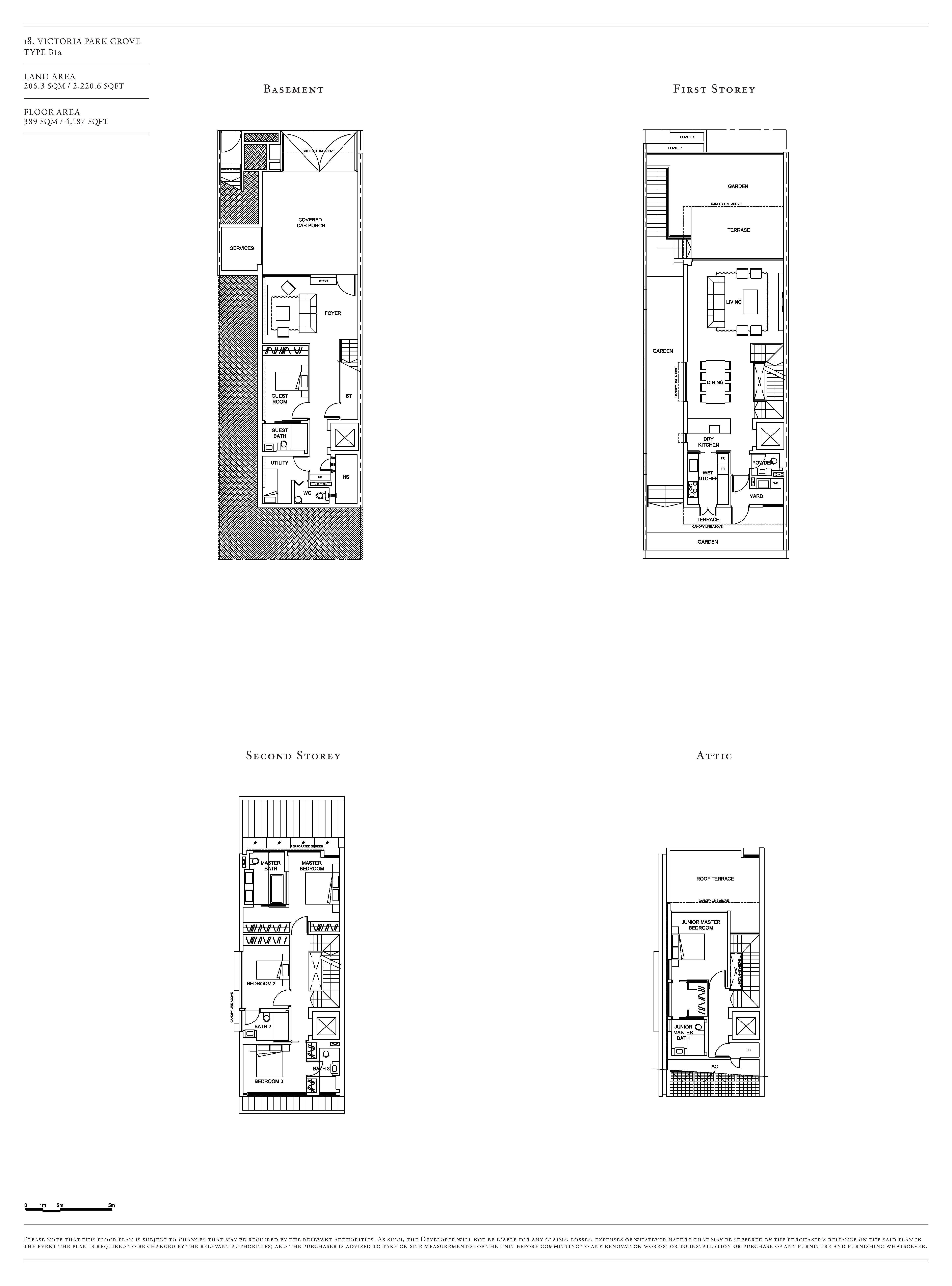 Victoria Park Villas House 18 Type B1a Floor Plans