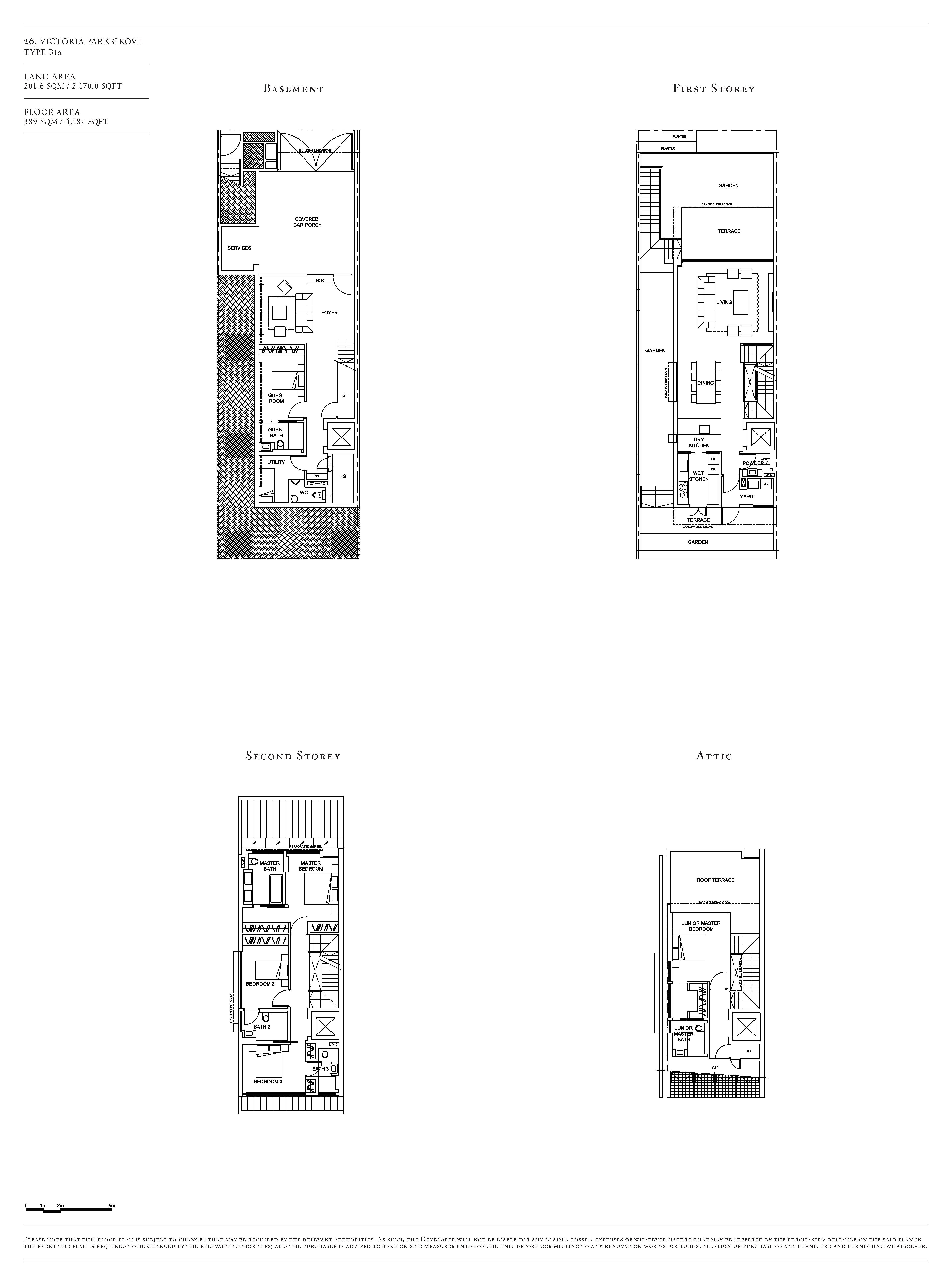Victoria Park Villas House 26 Type B1a Floor Plans