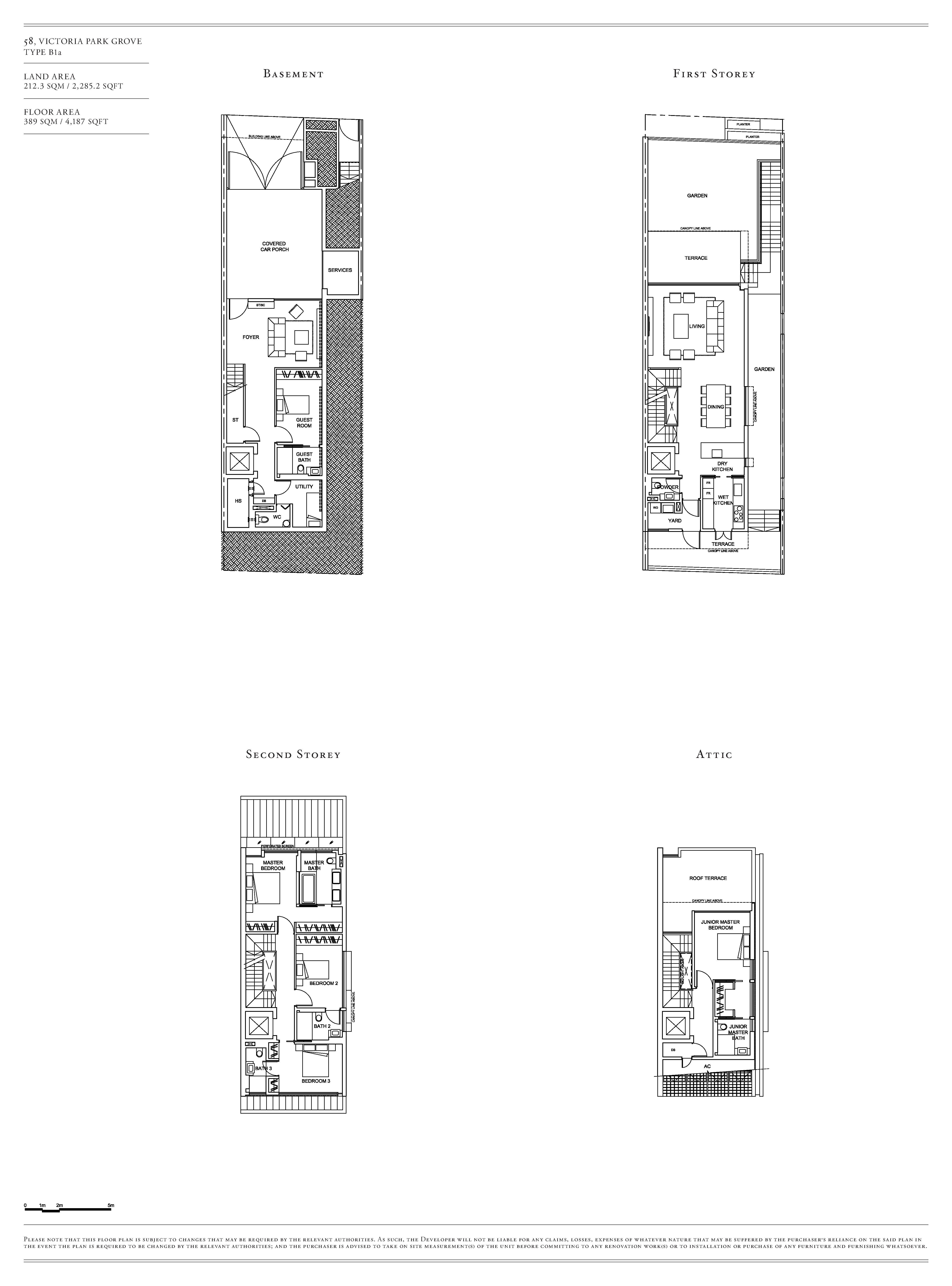 Victoria Park Villas House 58 Type B1a Floor Plans