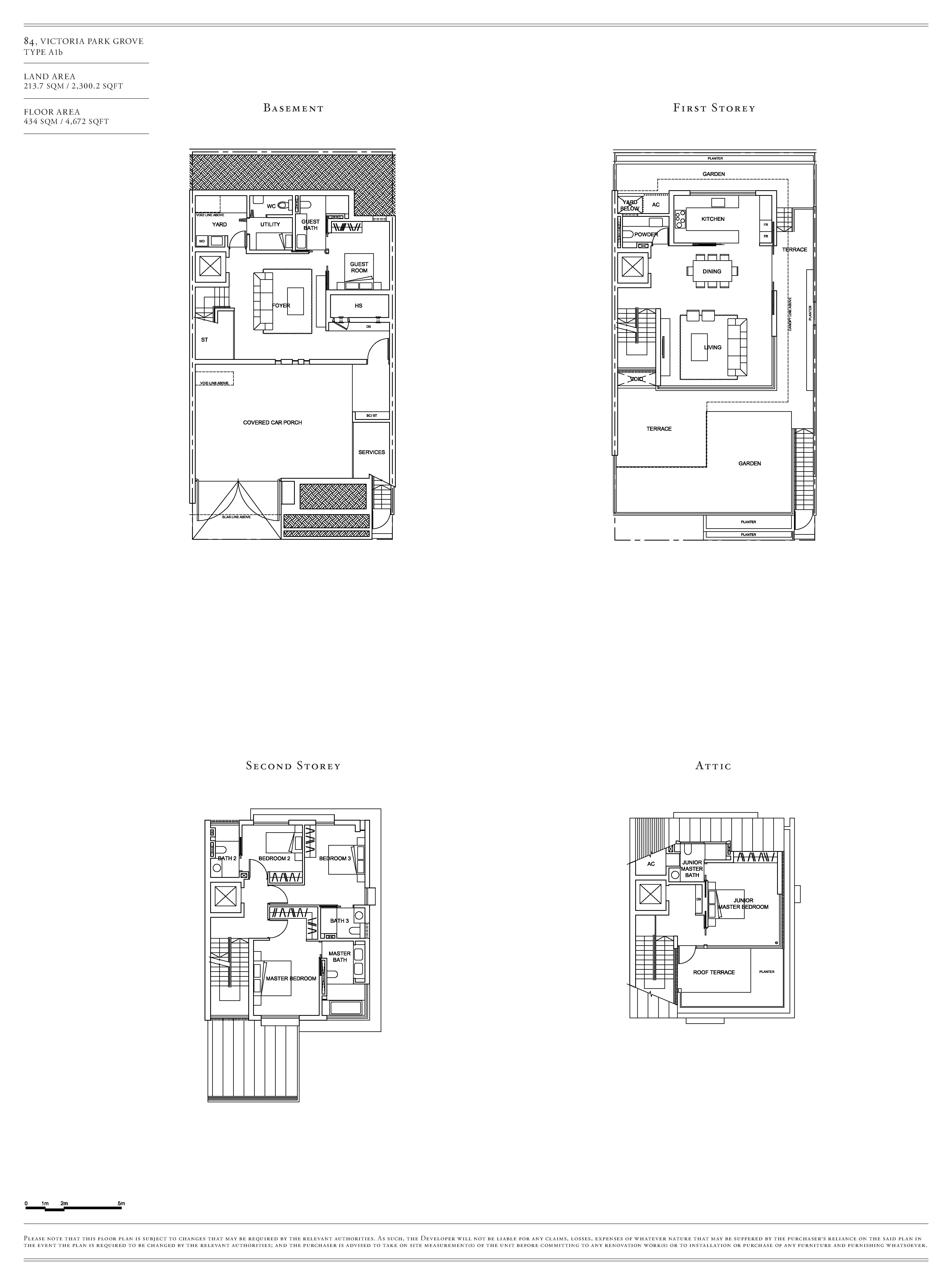 Victoria Park Villas House 84 Type A1b Floor Plans