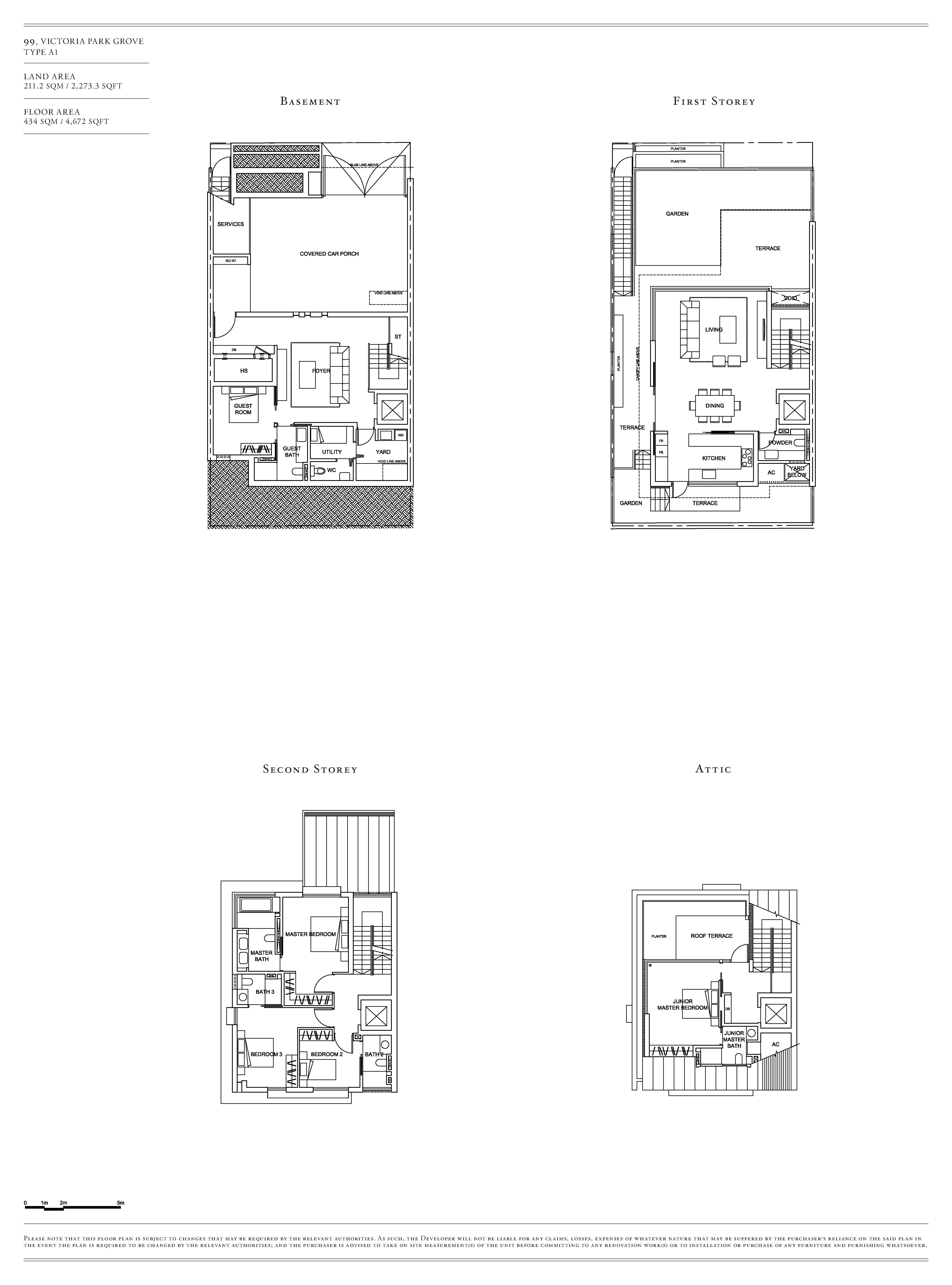 Victoria Park Villas House 99 Type A1 Floor Plans
