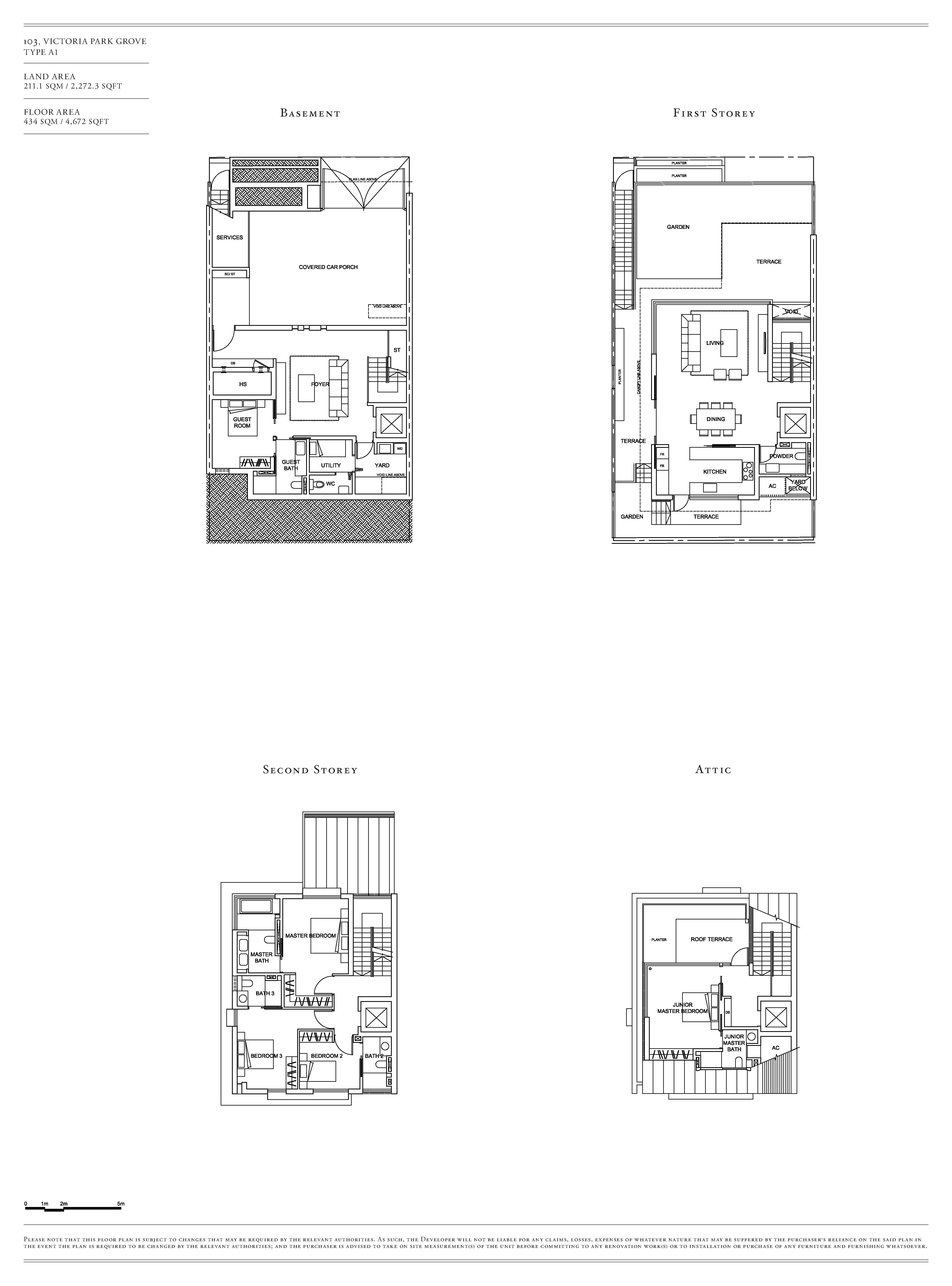 Victoria Park Villas House 103 Type A1 Floor Plans