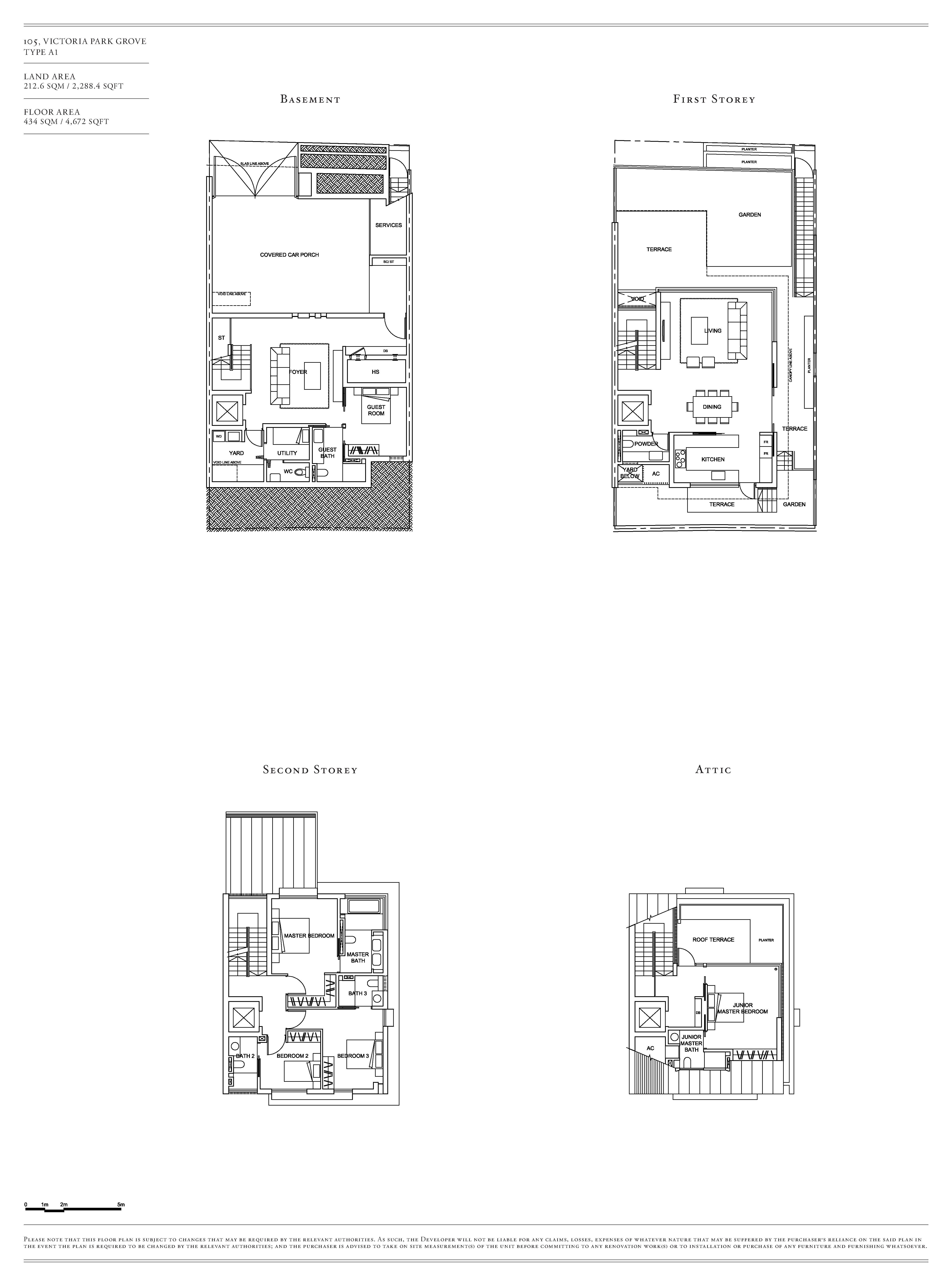Victoria Park Villas House 105 Type A1 Floor Plans