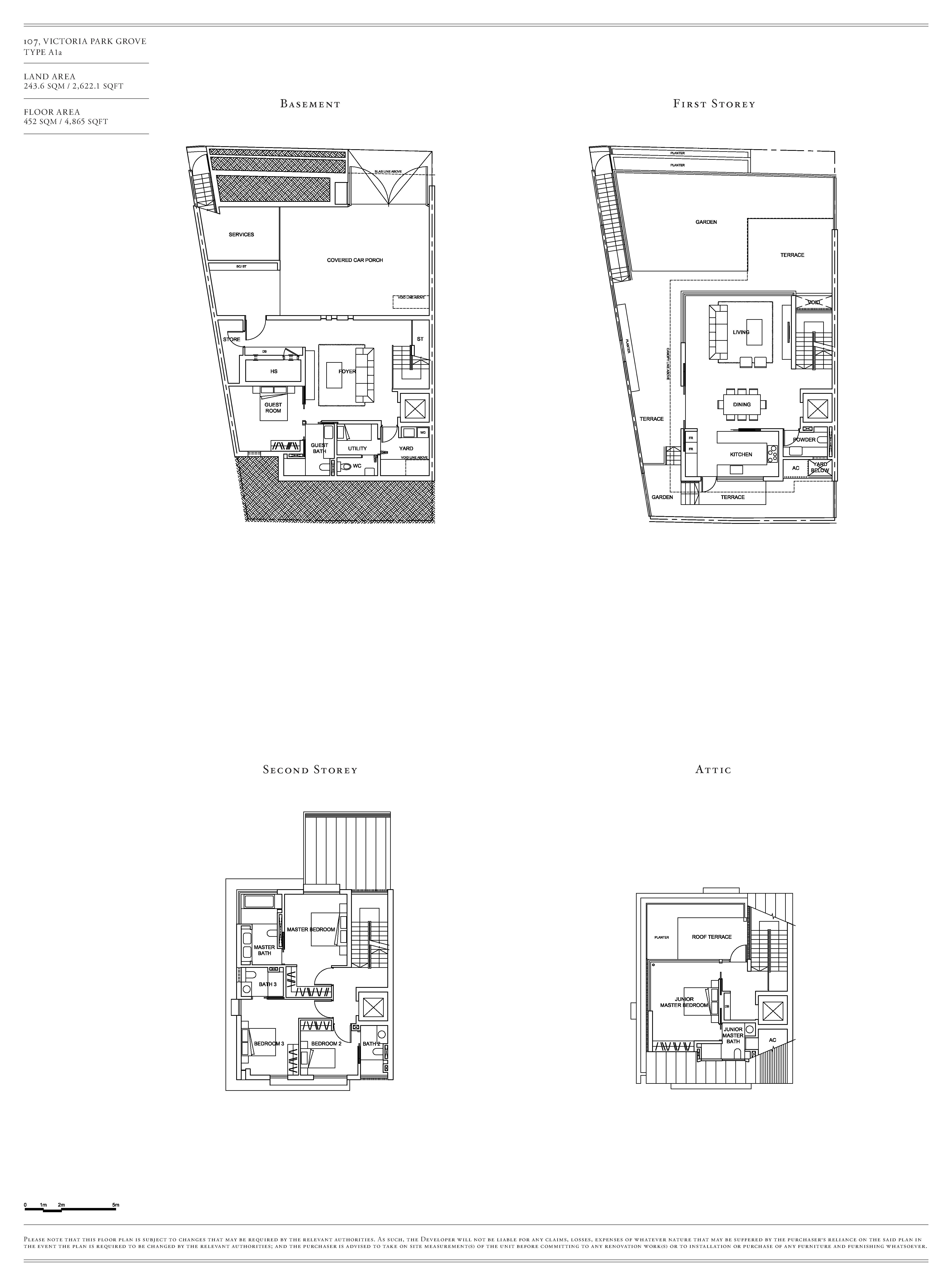Victoria Park Villas House 107 Type A1a Floor Plans
