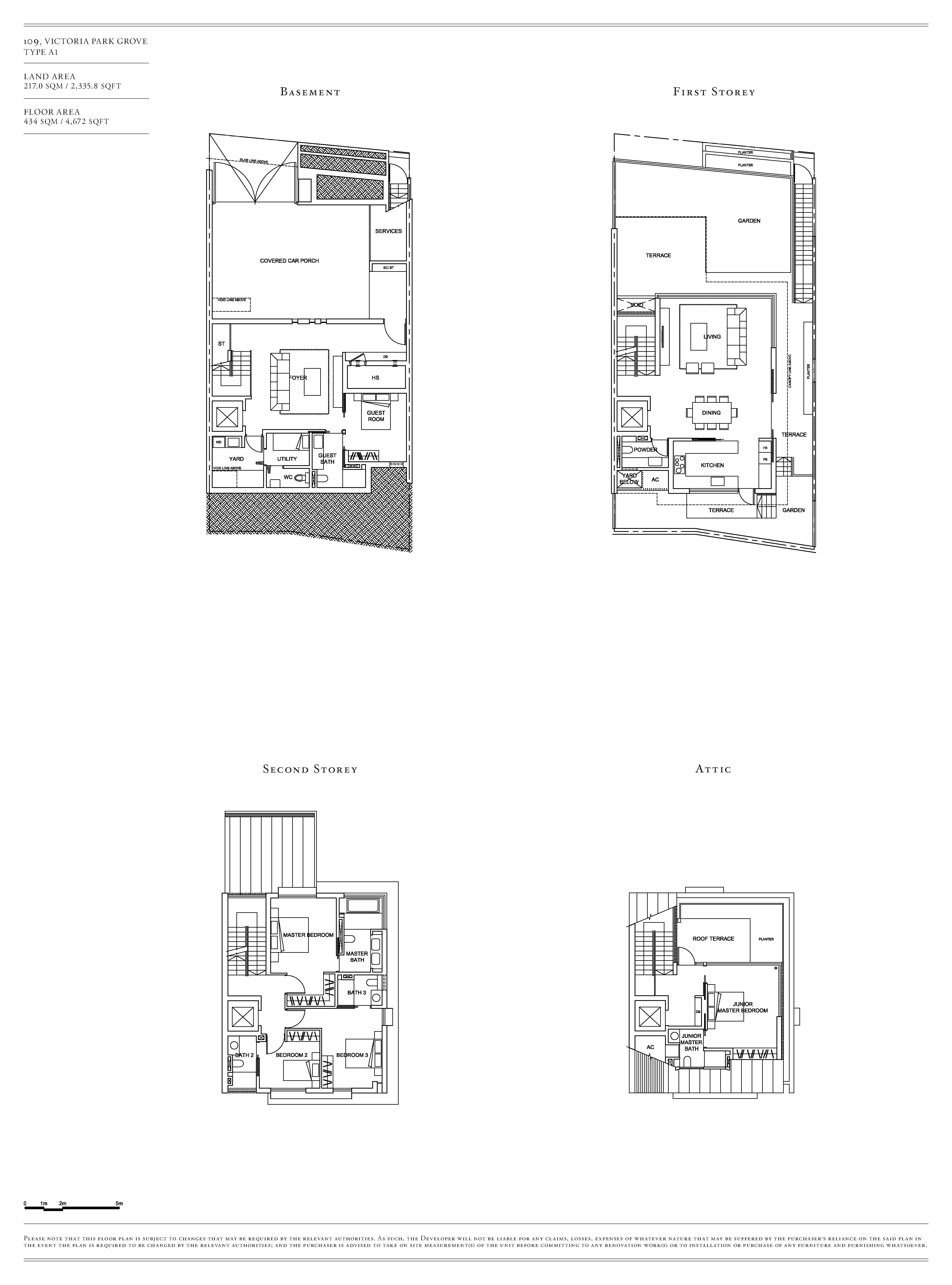 Victoria Park Villas House 109 Type A1 Floor Plans