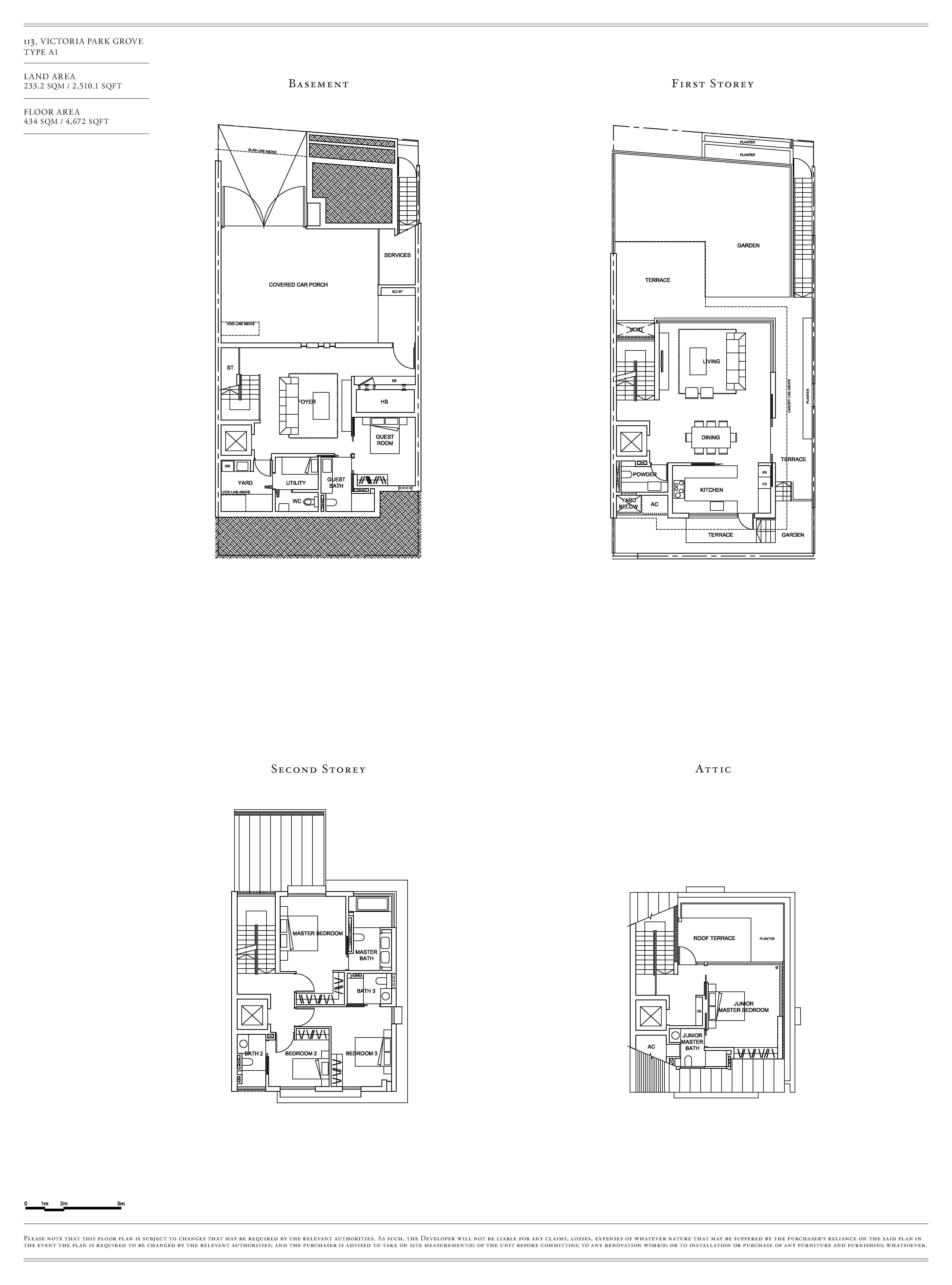 Victoria Park Villas House 113 Type A1 Floor Plans
